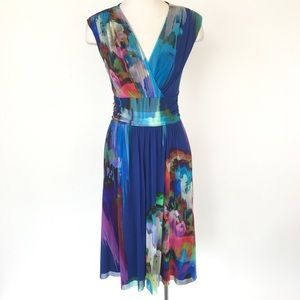 Elana Kattan size S blue watercolor print dress